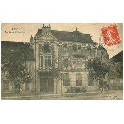 carte postale ancienne 58 COSNE-SUR-LOIRE. La Caisse d'Epargne animée