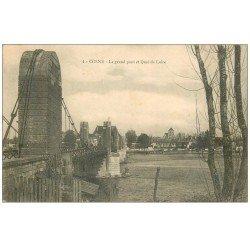 carte postale ancienne 58 COSNE-SUR-LOIRE. Le Grand Pont 1915. Tampon Militaire