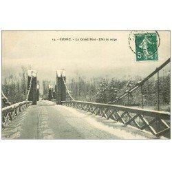 carte postale ancienne 58 COSNE-SUR-LOIRE. Le Grand Pont sous la neige 1908