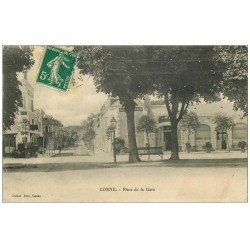 carte postale ancienne 58 COSNE-SUR-LOIRE. Place de la Gare 1912 Hôtel des Américains