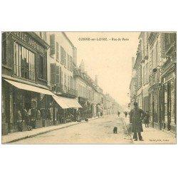 carte postale ancienne 58 COSNE-SUR-LOIRE. Rue de Paris 1910 La Belle Jardinière et Montres Lip