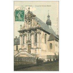 carte postale ancienne 58 NEVERS. Chapelle Sainte-Marie avec Charretier 1910