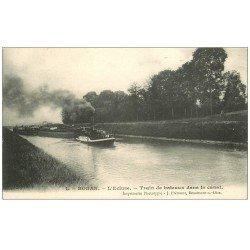 carte postale ancienne 60 BORAN. L' Ecluse train de Bateaux dans le Canal 1905 Péniches