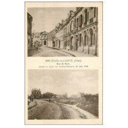 carte postale ancienne 60 BRETEUIL SUR NOYE. Rue de Paris 1948 avant et après le bombardement 1940