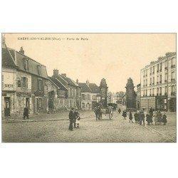 carte postale ancienne 60 CREPY-EN-VALOIS. Buvette Porte de Paris Hôtel du Cheval Blanc