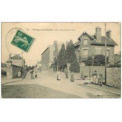 carte postale ancienne 60 CREPY-EN-VALOIS. Rue Hippolyte-Clair. Tampon Gaspard Antiquaire