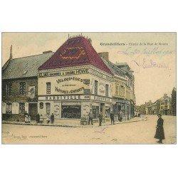 60 GRANDVILLIERS. Rue de Rouen 1916. Hardiville Vélocipèdes, Voitures d'Enfant et Elias Machines à coudre Howe