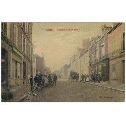 carte postale ancienne 60 MERU. Avenue Victor-Hugo vers 1909. Buvette Tabac. Superbe carte toilée