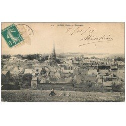 carte postale ancienne 60 MERU. Panorama 1909 avec Famille assise dans l'herbe