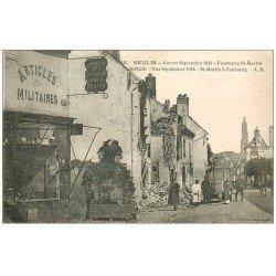 carte postale ancienne Superle lot 10 Cpa 60 SENLIS. Magasin Militaitre Faubourg Saint-Martin, Gare, Rue République etc...