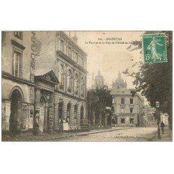 carte postale ancienne 61 ARGENTAN. Le Théâtre Rue de l'Hôtel de Ville 1915 Café et Epicerie