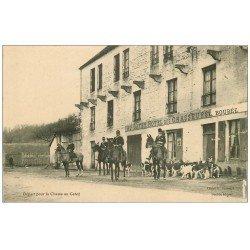 carte postale ancienne 61 AU GATEY. Départ de la Chasse à Couure Hôtel des Chasseurs. Carte écrite par le Propriétaire L. Boubée