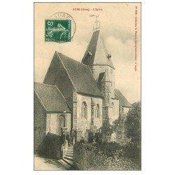 carte postale ancienne 61 AUBE. L'Eglise 1909 bien animée
