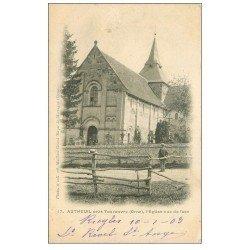 carte postale ancienne 61 AUTHEUIL. L'Eglise et Cimetière 1903 animation