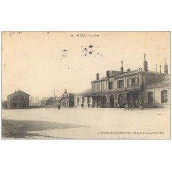 carte postale ancienne 61 FLERS. La Gare 1906