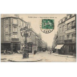 carte postale ancienne 61 FLERS. Place Centrale et Grande Rue 1915