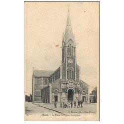 carte postale ancienne 61 FLERS. Place et Eglise Saint-Jean 1908