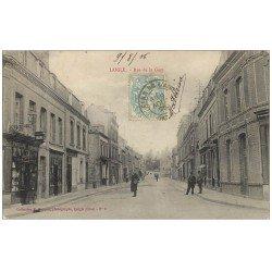 carte postale ancienne 61 LAIGLE L'AIGLE. Papeterie Rue de la Gare 1905 Tabac Café Restaurant