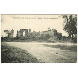 carte postale ancienne 62 ACHIET-LE-GRAND. Ruines de l'Eglise 1920