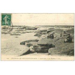carte postale ancienne 62 AUDRESSELLE. Les Rochers 1907 animation