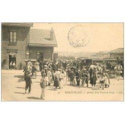 carte postale ancienne 62 BERCK. Arrivée d'un Train de Paris 1905 la Gare
