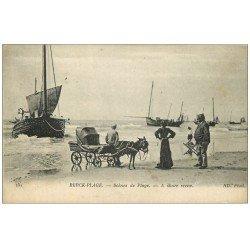carte postale ancienne 62 BERCK. Attelage d'Ane pour transport des Curistes