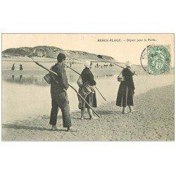 carte postale ancienne 62 BERCK-PLAGE. Départ pour la Pêche 1907 Métiers de la Mer