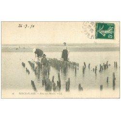 carte postale ancienne 62 BERCK-PLAGE. Parc aux Moules 1910. Métiers de la Mer