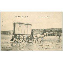 carte postale ancienne 62 BOULOGNE-SUR-MER. Cabine de Bain attelée