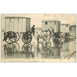 carte postale ancienne 62 BOULOGNE-SUR-MER. Cabines de Baigneurs attelage Cheval