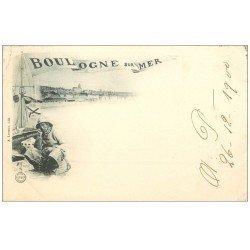 carte postale ancienne 62 BOULOGNE-SUR-MER. Pêcheur fumant la Pipe 1900. Métiers de la Mer