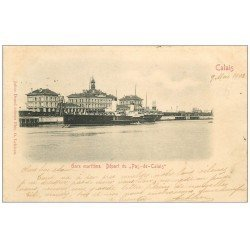 """carte postale ancienne 62 CALAIS. Gare Maritime départ du """""""" Pas-de-Calais """""""" 1903"""