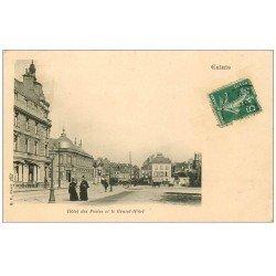 carte postale ancienne 62 CALAIS. Hôtel des Postes et Grand Hôtel 1907 Café Léon