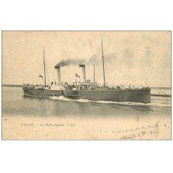 "carte postale ancienne 62 CALAIS. Navire """" La Malle Anglaise """" 1902"