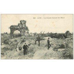 carte postale ancienne 62 LENS Ruines. Grands Bureaux des Mines
