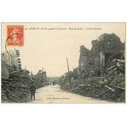 carte postale ancienne 62 LENS Ruines. Rue de Lille 1919