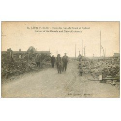 carte postale ancienne 62 LENS Ruines. Rues Douai et Diderot