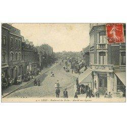 carte postale ancienne 62 LENS. Marché aux légumes Boulevard des Ecoles 1909