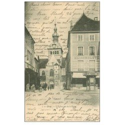 carte postale ancienne 70 GRAY. Eglise et Place 1904. Hologerie Maisonneuve et Kiosque MAGGI