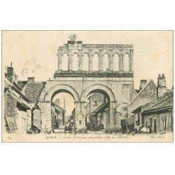 carte postale ancienne 71 AUTUN. Porte Arroux 1919