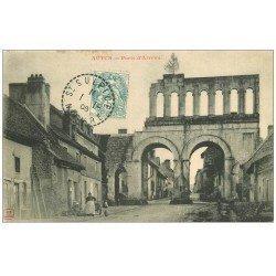 carte postale ancienne 71 AUTUN. Porte Romaine dite d'Arroux 1906