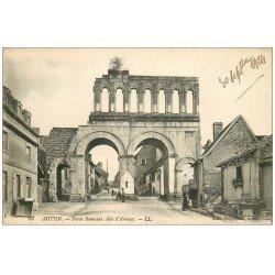 carte postale ancienne 71 AUTUN. Porte Romaine dite d'Arroux 1924 mais verso vierge