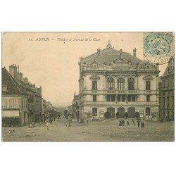 carte postale ancienne 71 AUTUN. Théâtre Avenue de la Gare 1906