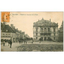 carte postale ancienne 71 AUTUN. Théâtre Avenue de la Gare 1921