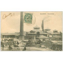 carte postale ancienne 71 BLANZY. Usine de Verreries 1907. Employés et Militaires