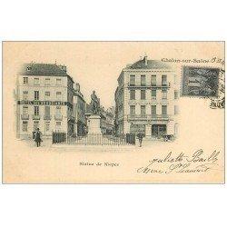 carte postale ancienne 71 CHALON-SUR-SAONE. Hôtel des Négociant et Statue de Niepce 1901
