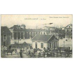 carte postale ancienne 71 CHALON-SUR-SAONE. La Gare 1916