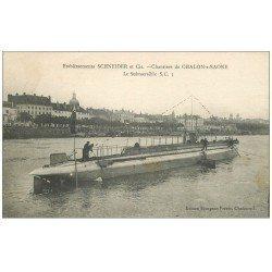 carte postale ancienne 71 CHALON-SUR-SAONE. Le Submersible Sous-Marin. Chantiers Etablissements Schneider