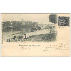 carte postale ancienne 71 CHALON-SUR-SAONE. Péniche et Lavandières Port Sainte-Marie 1901