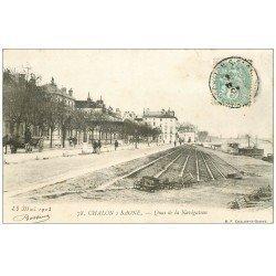 carte postale ancienne 71 CHALON-SUR-SAONE. Quai de la Navigation 1903